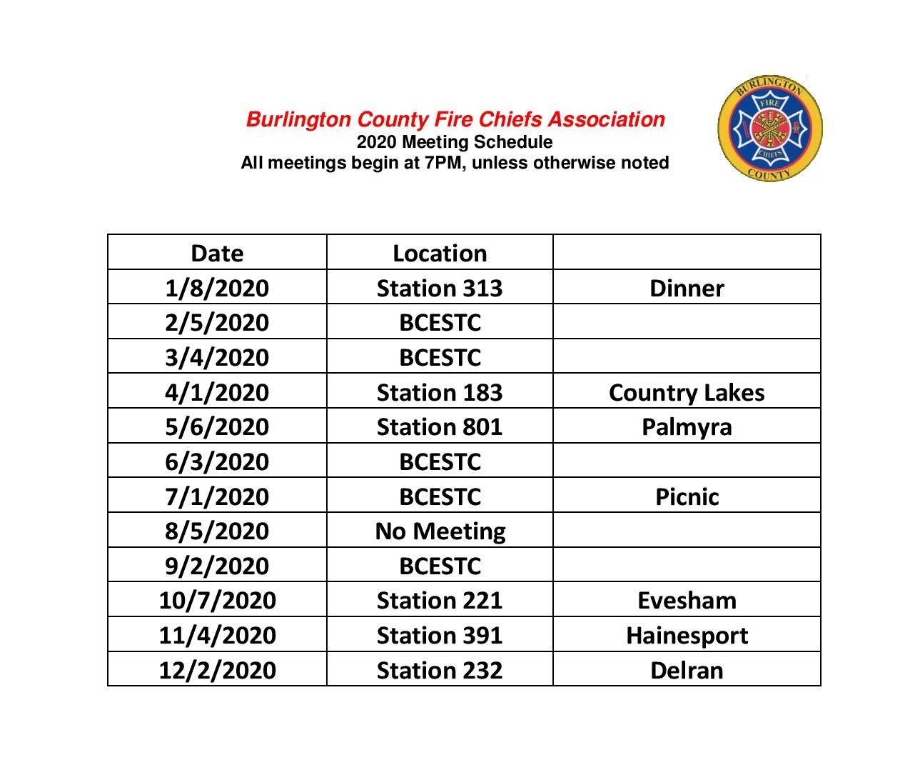 BCFCA Meeting Schedule 2020